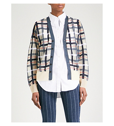 TOGA Checked knitted cardigan (Beige