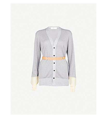 TOGA Contrast-cuff metallic-knit cardigan (Silver