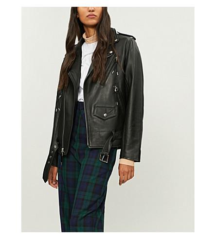 TOGA Lace-up leather jacket (Black