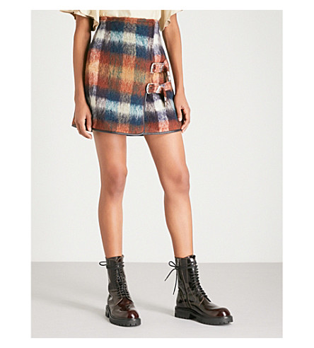 TOGA Checked wool and mohair-blend mini skirt (Orange