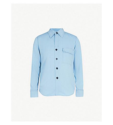 TOGA Contrast-stitching twill shirt (Light+blue