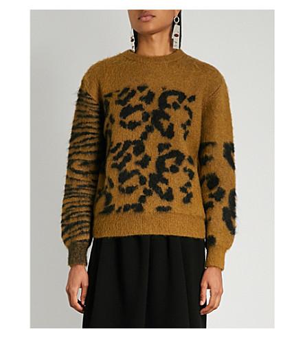 TOGA Animal jacquard mohair-blend jumper (Camel