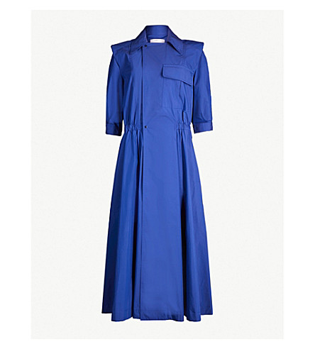 TOGA Notch-lapel cotton-blend dress (Blue
