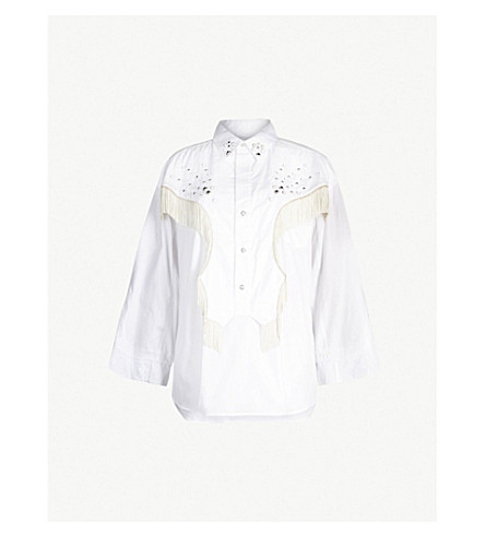 TOGA Fringed-detail cotton shirt (White