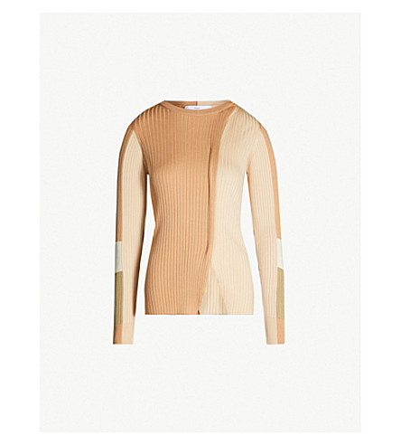 TOGA Panelled ribbed-knit jumper (Beige