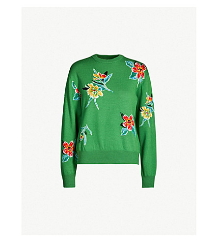 TOGA Round-neck floral intarsia wool jumper (Green