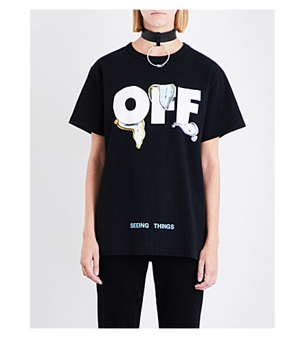 OFF-WHITE C/O VIRGIL ABLOH Watches cotton-jersey T-shirt (Black
