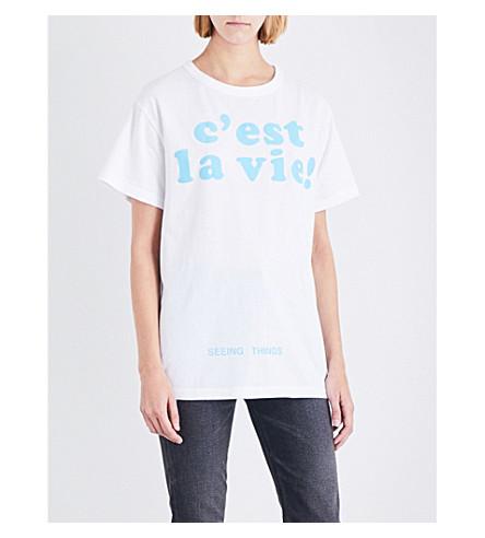 OFF-WHITE C/O VIRGIL ABLOH C'est la vie! cotton-jersey T-shirt (White+blue