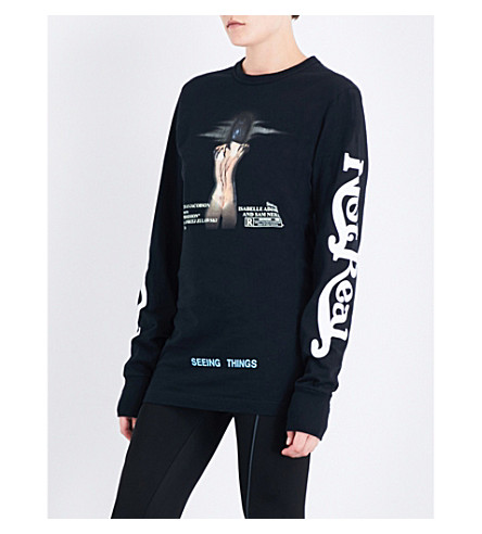 OFF-WHITE C/O VIRGIL ABLOH Woman long-sleeved cotton-jersey top (Black