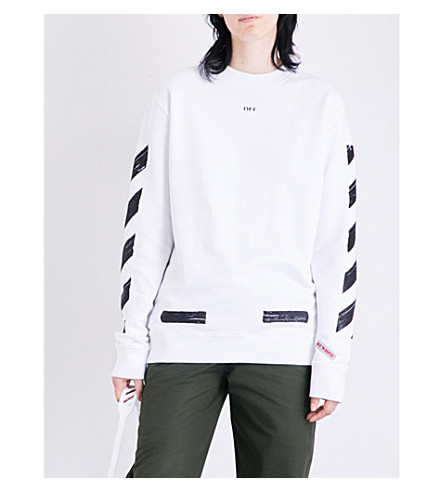 OFF-WHITE C/O VIRGIL ABLOH Brushed Diagonal Stripes cotton-jersey sweatshirt (White+black