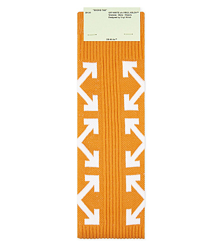 OFF-WHITE C/O VIRGIL ABLOH Cross-Arrows cotton-blend socks (Orange+white