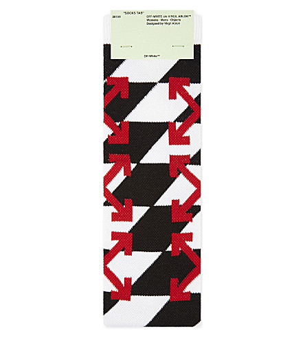 OFF-WHITE C/O VIRGIL ABLOH Checkerboard Arrows cotton-blend socks (Red