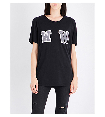 OFF-WHITE C/O VIRGIL ABLOH W-appliqué oversized cotton-jersey T-shirt (Black+anthracite