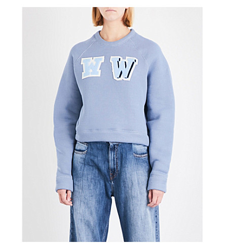 OFF-WHITE C/O VIRGIL ABLOH Oversized cropped cotton-jersey sweatshirt (Light+blue+light