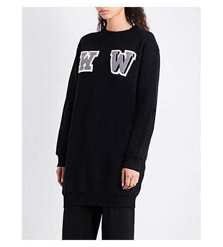 OFF-WHITE C/O VIRGIL ABLOH W-appliqué oversized cotton-jersey sweatshirt (Black+anthracite