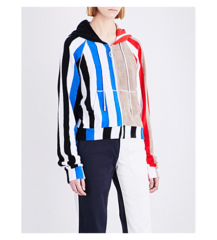 OFF-WHITE C/O VIRGIL ABLOH Striped cotton towel hoody (Striped all over white
