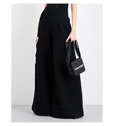 OFF-WHITE C/O VIRGIL ABLOH W Woman wide-leg cotton-jersey trousers (Black+white