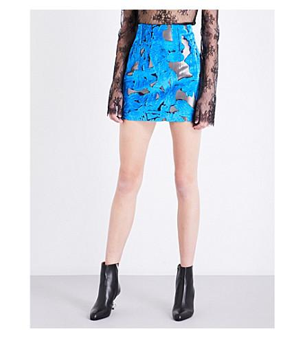 OFF-WHITE C/O VIRGIL ABLOH High-rise velvet mini skirt (Broccato+velvet
