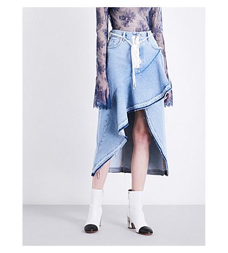 OFF-WHITE C/O VIRGIL ABLOH Asymmetric denim skirt (Bleach+no+colour
