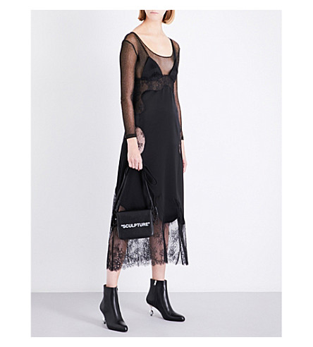 OFF-WHITE C/O VIRGIL ABLOH Eyelash-trimmed sleeveless satin and lace slip dress (Black