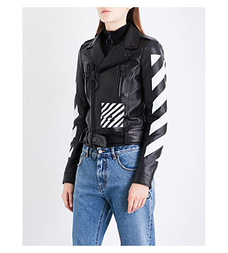 OFF-WHITE C/O VIRGIL ABLOH Diagonal Stripes leather biker jacket (Black+white