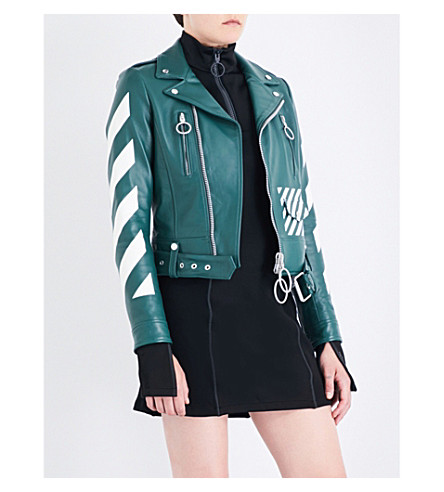 OFF-WHITE C/O VIRGIL ABLOH Diagonal Stripes leather biker jacket (Green+white