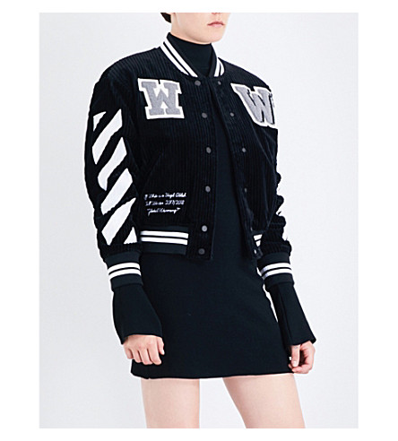 OFF-WHITE C/O VIRGIL ABLOH Diagonal Stripes corduroy bomber jacket (Black+white