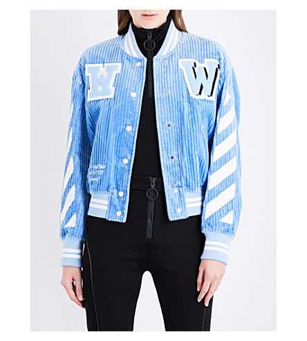 OFF-WHITE C/O VIRGIL ABLOH Diagonal Stripes corduroy bomber jacket (Light+blue+white