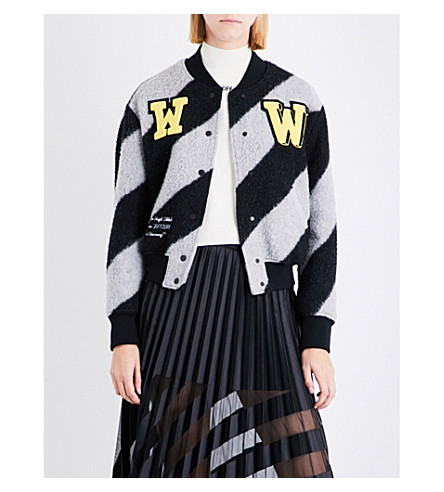 OFF-WHITE C/O VIRGIL ABLOH Striped wool-blend bomber jacket (Striped