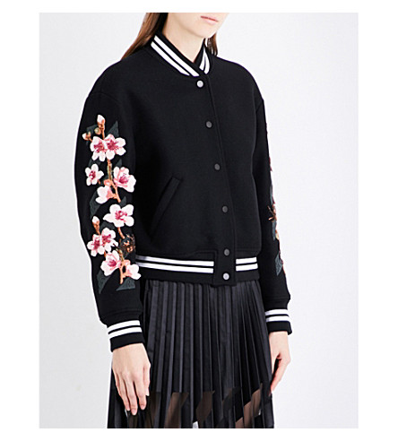 OFF-WHITE C/O VIRGIL ABLOH Cherry Blossom-embroidered wool-blend bomber jacket (Black