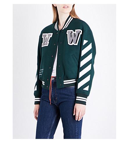 OFF-WHITE C/O VIRGIL ABLOH Diagonal Stripes wool-blend bomber jacket (Dark+green+white