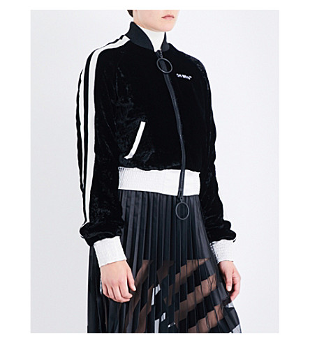 OFF-WHITE C/O VIRGIL ABLOH Striped velvet bomber jacket (Black+white