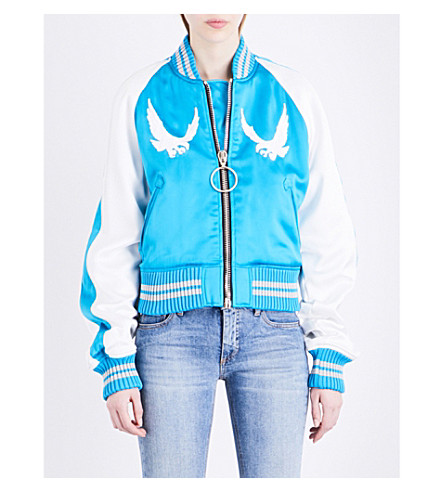OFF-WHITE C/O VIRGIL ABLOH Souvenir satin bomber jacket (Blue white