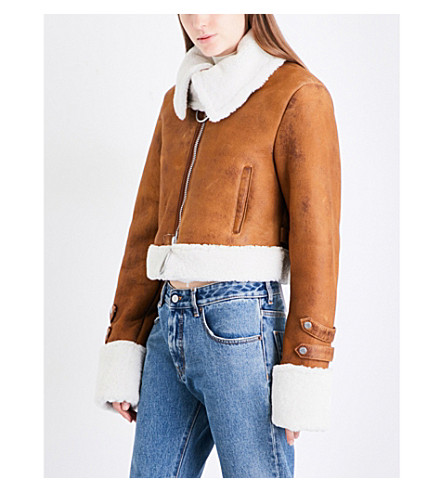 OFF-WHITE C/O VIRGIL ABLOH Cropped shearling jacket (Brown