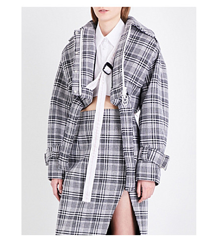 OFF-WHITE C/O VIRGIL ABLOH Prince of Wales check cropped woven jacket (Galles+allover