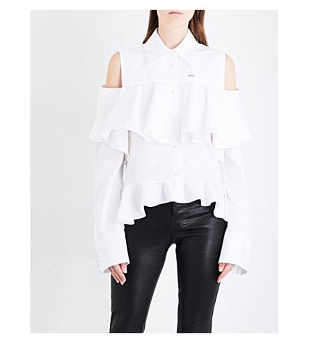 OFF-WHITE C/O VIRGIL ABLOH Ruffled cold shoulder cotton-poplin shirt (White++1