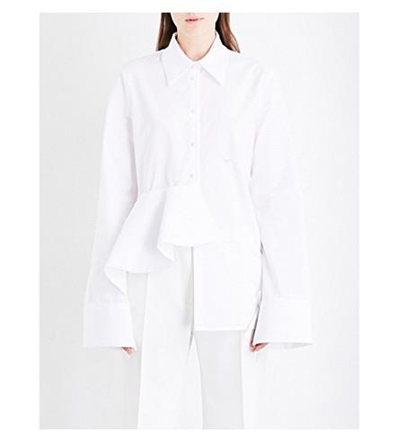 OFF-WHITE C/O VIRGIL ABLOH Ruffled cotton-poplin shirt (White+2