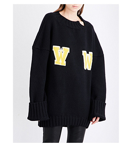 OFF-WHITE C/O VIRGIL ABLOH Oversized wool-blend jumper (Black+yellow