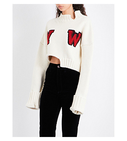 OFF-WHITE C/O VIRGIL ABLOH W-intarsia cropped wool-blend jumper (White+red