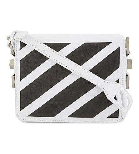 OFF-WHITE C/O VIRGIL ABLOH Diagonal stripe leather shoulder bag (White+black