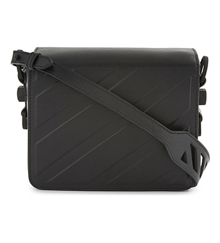 OFF-WHITE C/O VIRGIL ABLOH Diagonal stripe leather shoulder bag (Black+black