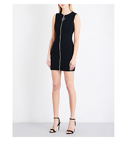 VERSUS VERSACE Reversible zip-detail fitted crepe mini dress (Black