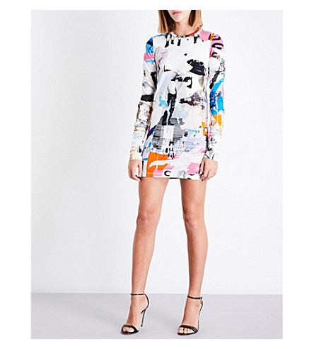 VERSUS VERSACE Abstract-pattern stretch-cotton mini dress (Multi