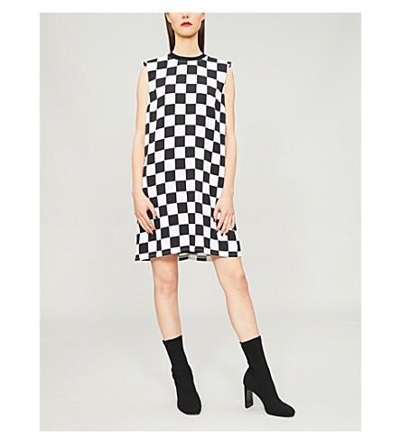 VERSUS VERSACE Chequered-print crepe dress (Black+white