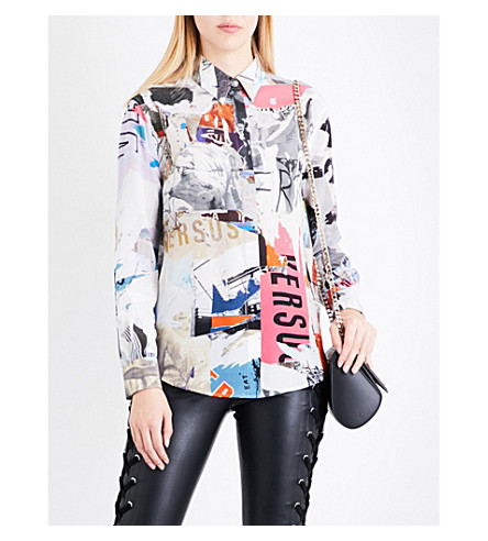 VERSUS VERSACE Abstract-print silk-crepe shirt (Multi