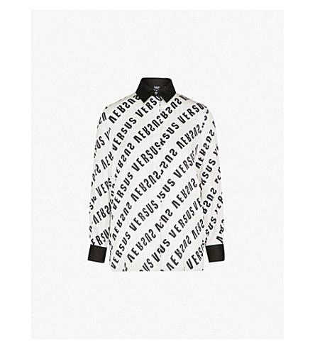 VERSUS VERSACE Logo-print satin shirt (Wht+stampa