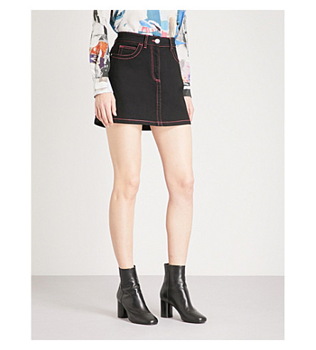 VERSUS VERSACE Contrast-stitched stretch-denim skirt (Black