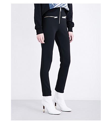 VERSUS VERSACE Zip-detailed stretch-jersey trousers (Black