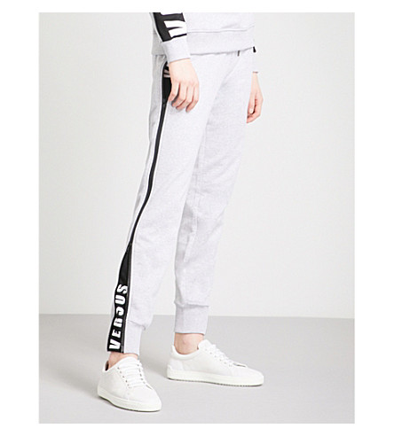 VERSUS VERSACE Logo-detail cotton-jersey jogging bottoms (Light+grey