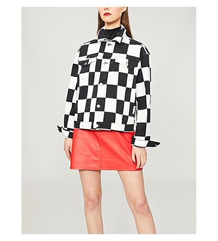 VERSUS VERSACE Chequered stretch-denim jacket (Multicolor